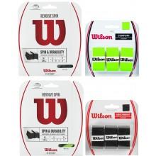 WILSON REVOLVE SPIN GREEN PACK 1,30 MM (12 METER) + WILSON PRO OVERGRIP ZACHT ZWART