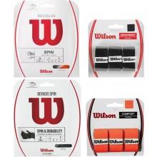 WILSON PACK MET WILSON REVOLVE SPIN ORANJE SNAAR 1.30MM (12 METER ) + WILSON PRO SOFT ZWARTE OVERGRIPS